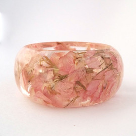 SpottedDogAsheville - Pale Pink Botanical Resin Bangle