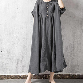 Oversize dress - loose fitting long Oversize dress gray large size dress loose fitting maternity dress