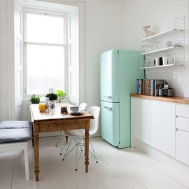light teal Smeg fridge