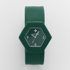 RumbaTime - RumbaTime Broadway Silver Tone Hunter Green Silicone Slap Watch - 18491