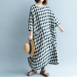 Oversized Linen dress - maxi dress in Plaid dress, Linen dress long, Vintage Plaid dress, cotton dress long, Women's Dresses