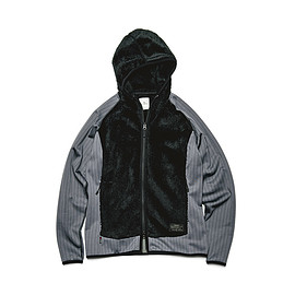 uniformexperiment - POLARTEC_ FLEECE STRIPE SLEEVE HOODY