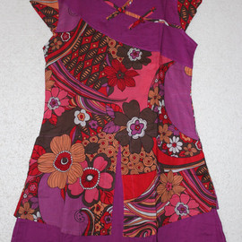 cotton dress - Summer Loose Fitting cotton dress in Purple