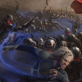 "Quicksilver in Marvel's ""Avengers: Age of Ultron"" concept art poster"