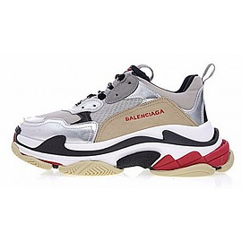 BALENCIAGA - Balenciaga Men's Triple S Mesh & Leather Sneakers Silver Red