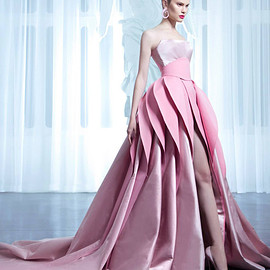 nicolas jebran - nicolas jebran couture spring 2015 pink ball gown colored wedding dress layered skirt