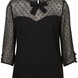 TOPSHOP - Dobby Dot Bow Front Blouse