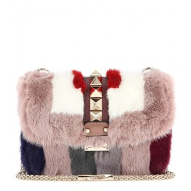 VALENTINO - Lock Small mink fur and leather shoulder bag