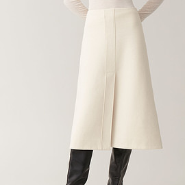 COS - a-line cotton jersey skirt in beige