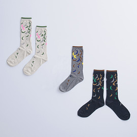 atelier naruse - cotton ~雨ときどき月~middle socks