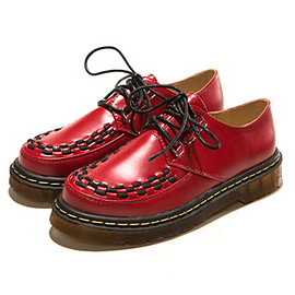 Red Round Toe Lace Up Flat Shoes pictures