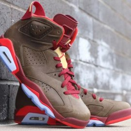 Nike - NIKE AIR JORDAN 6 RETRO RAW UMBER/TEAM RED/METALLIC GOLD-CHALLENGE RED