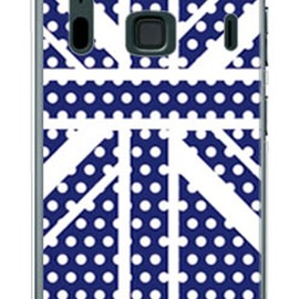SECOND SKIN - Cross dot union jack ネイビー (ソフトTPUクリア) design by ROTM / for ARROWS A 202F/SoftBank
