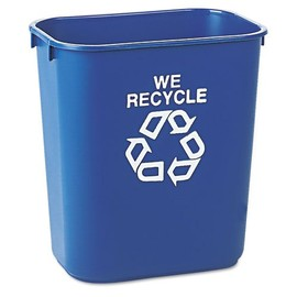 "Rubbermaid - Commercial Small Deskside Recycling Container ""WE RECYCLE"""