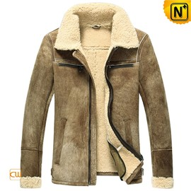 CWMALLS - Men's Shearling Lined Leather Bomber Jacket CW860205