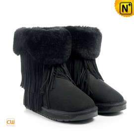 CWMALLS - Black Shearling Fringe Boots for Women CW314426