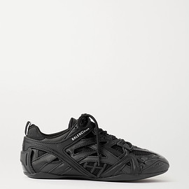 BALENCIAGA - Closed logo-print leather, rubber, mesh and suede sneakers