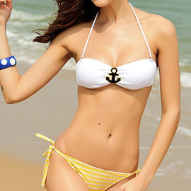 Hardware White Bandeau Bra Striped Panties Bikini Swimsuit