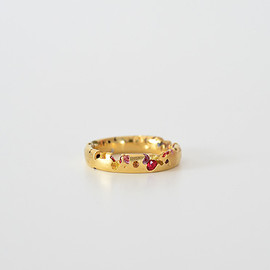 Polly Wales - Eroded Multi Color Sapphire Narrow Ring