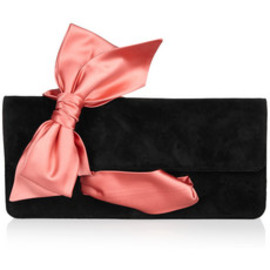 Christian Louboutin - Elisa bow-embellished suede clutch