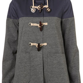 TOPSHOP - Cotton Hooded Contrast Duffle Coat