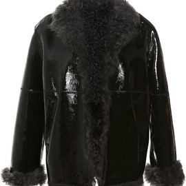 Christopher Kane - Black Patent Leather Bonded Shearling Jacket
