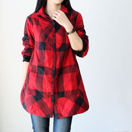 shirt - Cotton single breasted tunic coat Red and black plaid quilted loose blouse shirt