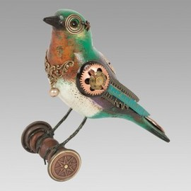 Mullanium - Green/Rust and Purple Bird on Wheels