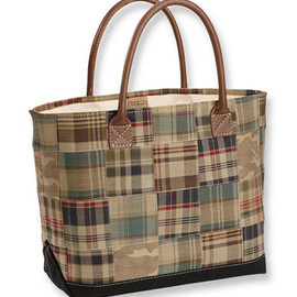 L.L.Bean - Leather-Handled Madras Tote