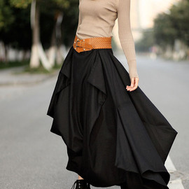 dreamyil - Winter skirt / black irregular the woolen skirts / winter woolen long section skirt