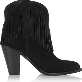 Saint Laurent - New Western fringed suede ankle boots