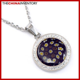 NEW GIRLS STAINLESS STEEL MOSAIC PENDANT NECKLACE P2713
