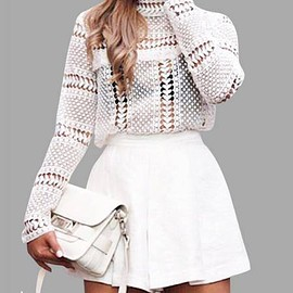 Yoins - White Lace Blouse with Hollow Design