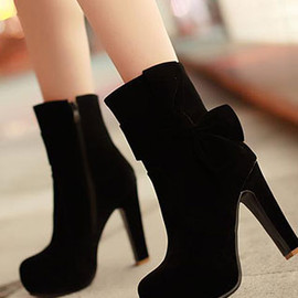 Elegant European Pure Color Bowknot High-heeled Boots