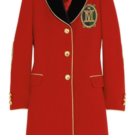 MOSCHINO - Velvet-trimmed wool-crepe coat