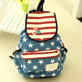 bag - Image of [grzxy6200014]Cute Sweet Retro American Flag Strip Star Backpack
