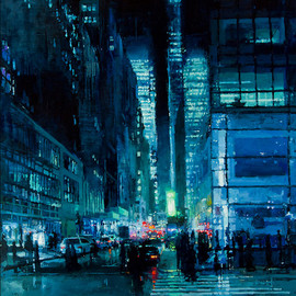 Jeremy Mann - CITYSCAPES / New York Night in Blue