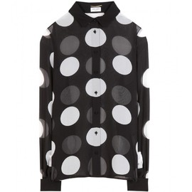 SAINT LAURENT - FW2014 FOLD-OVER COLLAR BLOUSE IN BLACK AND WHITE LARGE POLKA DOT PRINTED SILK GEORGETTE
