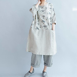 large size dress - Linen loose large size round collar pullover dress summer dress