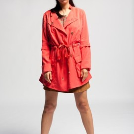 aryn K. - coral red trench jacket