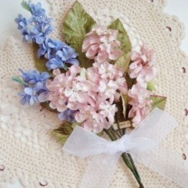 "Vintage Millinery  Flower ""PINK & BLUE"" Bouquets"