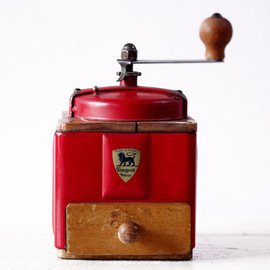 PEUGEOT - FRENCH PEUGEOT RED  Metal and Wood coffee grinder