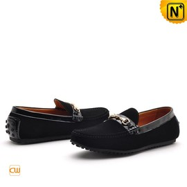 cwmalls - Mens Black Suede Leather Loafers CW740122