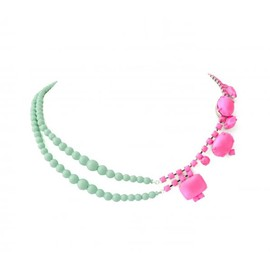 Tom Binns - PINK CRYSTAL AND MINT PEARL NECKLACE