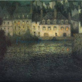 Henri Le Sidaner - House By The River In Full Moon