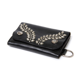 """nonnative - DWELLER WALLET SHORT  """"LAZY LINE"""" - COW LEATHER WITH STUDS by Stevenson Overall Co."""