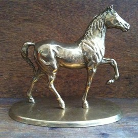Luulla - Vintage English Brass Horse on Stand