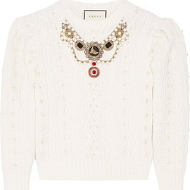 Gucci - Embellished cable-knit wool and cashmere-blend sweater
