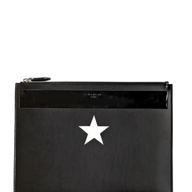 GIVENCHY - STAR PRINTED LEATHER LARGE POUCH