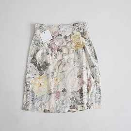 vintage - pale floral skirt | high waist short skirt | 80s floral skirt